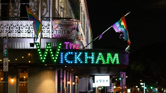 A photo of the rainbow sign at The Wickham