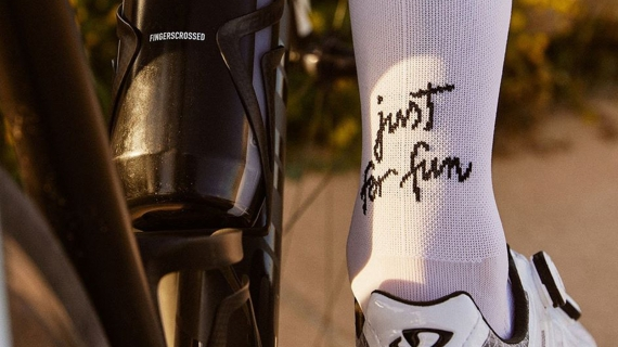 Cyclist wearing 'just for fun' socks